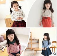 Children Clothing 2014 New Fashion Autumn Winter Long Sleeve T-shirts Kids Dot Pattern Pocket T Shirts For Baby Girls