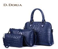 fashion 2014 Crocodile women's for fashion handbag laptop shell bag piece set bags shoulder bag