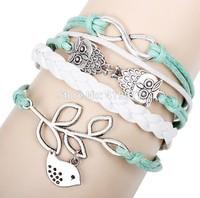 2015 Fashion Vintage Bird  Owl Infinity Multilayer Leather Bracelet Jewelry For Women Unisex Best Gift