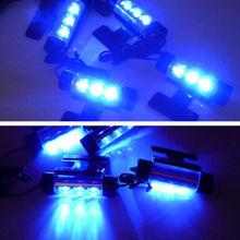 4Pcs Car Styling Interior Parking Decorative Light Passat B6 3 LEDs Led Lamp Car Door Charge 12V Glow 4in1 Atmosphere Blue Light(China (Mainland))