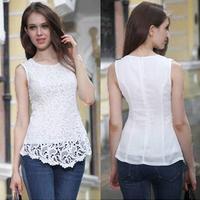 Fashion women lace Blouse Sleeveless European Brazilian Sexy white Lace Shirt women lace top Casual Vestidos S-3XL 5910.E