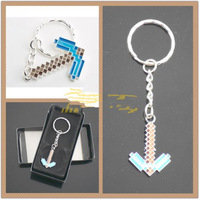 200Pcs/lot New Fashion Jewelry Zinc Alloy Sword Minecraft Pickaxe Boult Metal Arrow Key chains Keyrings Wholesale