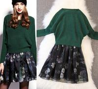 Best Quality!New Autumn Fashion Clothes Set 2014 Women Green Rabbit Hair Wool Sweater+Lace Patchwork Print Dress(1Set) 2 Piece