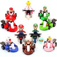 """Lot 10pcs Super Mario Bros 2"""" Kart Pull Back Car Figure"""