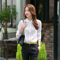 Women plus size white lace blouse long sleeve hollow chiffon shirt blusas femininas