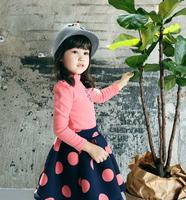New High Quality Winter Fleece Dot Fashion Dresses , Princess Boutique Clothing Wholesale 5 pcs/lot, Free Shipping