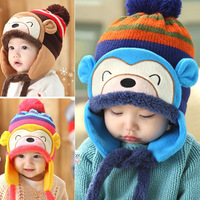 High Quality Autumn / Winter Kids Super Cute Monkey Handmade Warm Knitted Wooly Hat Children Baby Infant Cap