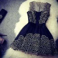 Vestidos de Fiesta 2014 Women Fashion White Black Dress Vintage Black Cute Chiffon Lace Dress Original Dress Tank AY852239