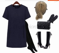 Hot sale Party Plus Size Casual Winter women dress Mini Ladies Loose zipper Yellow/Navy Blue O-Neck Female Wool Above Knee B16