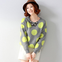 2014 Hot Woman's Lovely Sweater,Fashion Casual Losse Dot O-Neck Pullovers,Contrast Color ,Drop Shopping,WZM647
