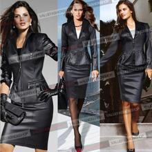 Plus Size 2015 Autumn Winter New European Fashion Women Sexy Slim Black Motorcycle Leather Jacket Two-piece Set Outwear Coat(China (Mainland))