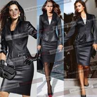 Plus Size 2014 Autumn Winter New European Fashion Women Sexy Slim Black Motorcycle Leather Jacket Two-piece Set Outwear Coat