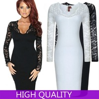 Autumn Winter Dress Women 2014 Full Sleeve Vestidos Elegant Women Bandage Dress Deep V Neck Sexy Lace Hollow Party Dresses