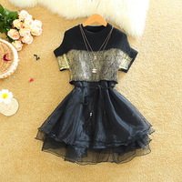 Alpha Nov.New Arrival Women Fashion 2pieces Suits Stylish Metalic Color Short Sleeve Top + Organza Princess One Piece Dress