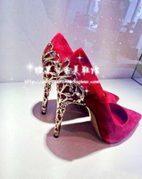 New Design Pumps 2015 Women Red High Heels Wedding Shoes Pointed Toe Suede Sapatos Femininas Plus Size Black Zapatos Mujer