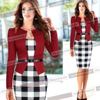 Plus Size S-XXL Black,Purple,Red 2014 New Fashion Women Elegant Plaid Patchwork Long Sleeve Celebrity Bodycon Evening Dresses