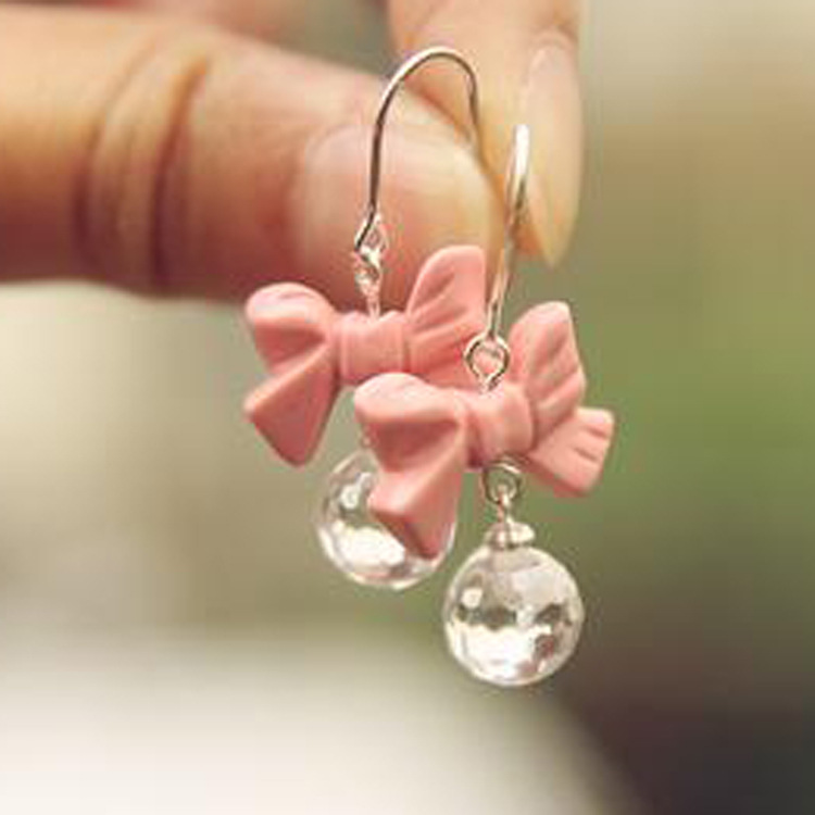 Hot Girls Sweet Silver Pink Bowknot Earrings Ear Studs Free Shipping(China (Mainland))