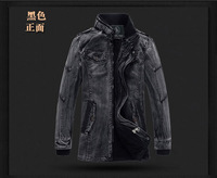 New Arrival 2014 Men'S Velvet Denim Coat Long Thick Winter Jackets Retro Stand Collar Cotton Jackets Military Coat M-3XL A1419