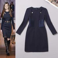 Hot Sale European Style Women Long Sleeve Dresses Autumn Blue Dresses Casual Office Vestidos Roupas Free Shipping W326A01