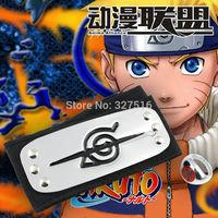 Anime Naruto Leaf Village Logo Konoha Kakashi Akatsuki Members + Ring Headband Cosplay Costume Accessories Free shipping