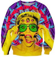 Crazy women colorful parttern 2014 Warm Women hoody King Fahsion Ladies Print Sweatshirt 3D Casual Round Collar Sports Shirt