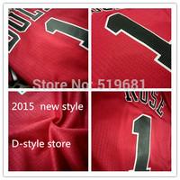 Free Shipping,cheap 2015 Rose #1 men Basketball jersey,red men jerseys sticks logos size S-XXL,accapt drop shipping