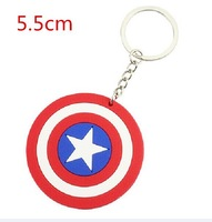 DHL 200pcs The Avengers Captain American Rubber Double-Faced Keychains Pendants PVC Toys 5.5cm Free Shipping
