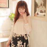Women's Blouse 2014 New Winter Tops Sweet See-through Lace Collar Falbala Long-sleeved Chiffon Blouse Shirt