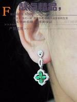 red*white*blue diamodn clover lady's earings (3.2*1.5cm) (gghhjjghj)