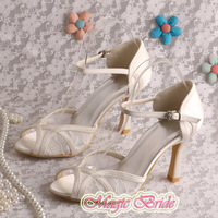 Magic Custom Handmade Off-white Lace Summer High Heel Sandals Bride 9CM Size 7 Free Shipping
