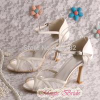 Magic Custom Handmade Off-white Lace Summer High Heel Sandals Bride 9CM Size 7 Free Shipping