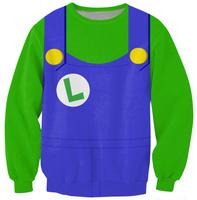 POKEMON 2014 New Woman Winter Clothes Super Mario Green Print Sweatshirt Casual Cute pullovers