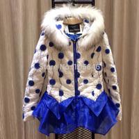 2014 New Winter Disigner Luxury Brand Women Real Fur Collar Organza Asymmetric Sunflower Fine Embridery Warm White Down Coat