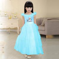 Girls Frozen Princess Anna Elsa Costume Kids Wear Party Dress Character Ball Gown Children Flower Girl Dresses Infantil Vestido