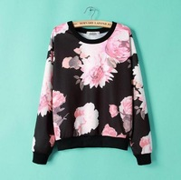 Europe brand 2014 autumn and winter new fashion O-neck pink neckline big flowers printed pullover sweatershirts/hoodies