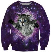 Cat in Galaxy purple sky women hoody 2014 Fashion Winter Sweatshirt Casual Sports Costumes women pullovers