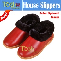 Hot Heel Covering Genuine Leather  indoor Slippers Men Women Thick Bottom Winter Warm Non-slip Thickening Slippers Free Shipping