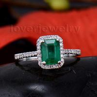 Genuine 100% Natural Emerald Cut 5x7mm Emerald 18KT White Gold Engagement Diamonds Ring WU94B