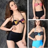 4 Colors New 2014 Retro high waist bikini bathing suit vintage high waisted swimwear bandage bikini bathing suits biquinis