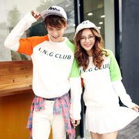 2014 male and female lovers thickened cotton fleece Turtleneck crew neck Raglan Sleeve sweater W8028-P60