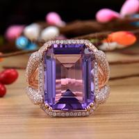 Elegant Ladies Emerald Cut 15x20mm Amethyst Diamond Engagement Ring 14Kt  Gold WU0235