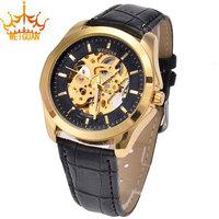 Hot Sale Man WEIDAN Leather Brand Watch , Quality Goods Movement Man Luxury Skeleton Waterproof Mechanical Wrist Watches WG-0044