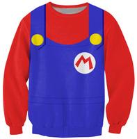 2014 Fashion New Woman Winter Clothes POKEMON Super Mario Red Print Sweatshirt Casual Cute Sweatshirts