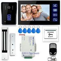"""7"""" Video Door Phone Intercom Doorbell Camera Monitor Magnetic Lock RFID Keyfobs,Apartment Video Door Entry System"""