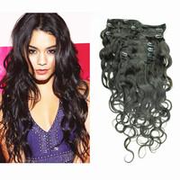 5A Grade brazilian virgin hair body wave clip in human hair extensions 7pcs/set 120g free shipping wavy clip in hair extensions