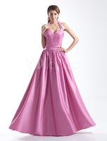2014 Fashion Halter Satin Evening Dress Party Dresses Prom Gowns