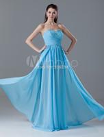 2014 Elegant Sweetheart Blue Floor-Length Chiffon Beading Evening Dress Party Dresses Prom Gowns