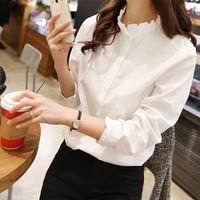 Korean Women Fashion Elegent  Stand Lace Collar Chiffon Blouse Slim Long Sleeve OL Shirt Tops Chiffon Blusas Femininas AY852243