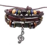 2015 Hot Fashion Leather Star Music Symbol Charm Bead Wristband Bracelet Adjustable Top Shopping