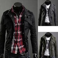FREE SHIPPING 2014 new men's men's wear Liling double collar zipper slim men's casual jacket coat